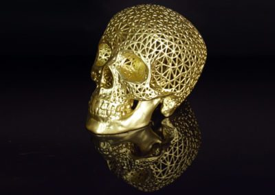 """The Incorruptible Body"" gold skull sculpture by Amy Karle 2016"