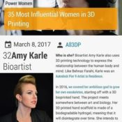 "Amy Karle named one of the ""35 Most Influential Women in 3D Printing"""
