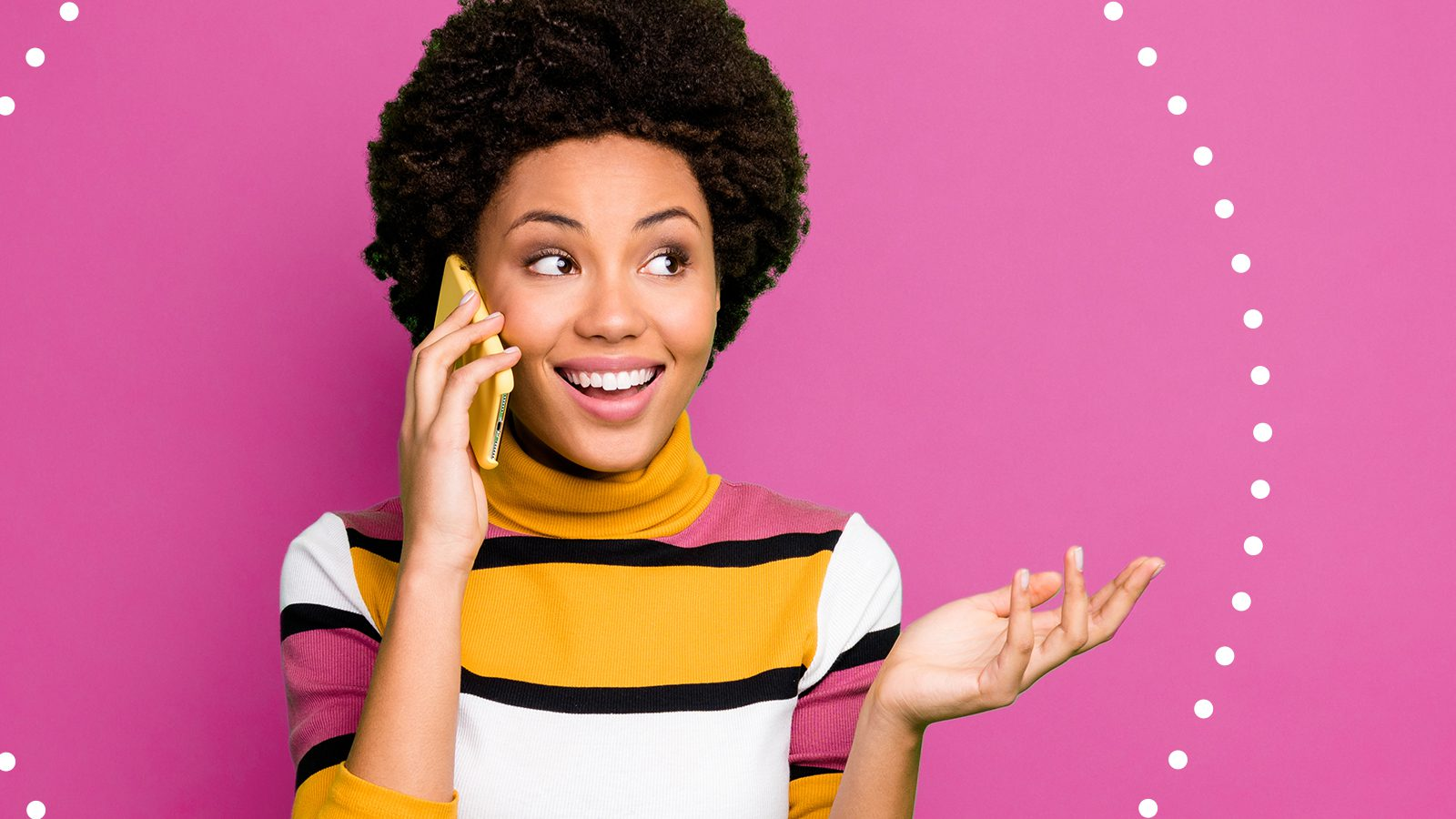 Happy customer talking to contact center agent