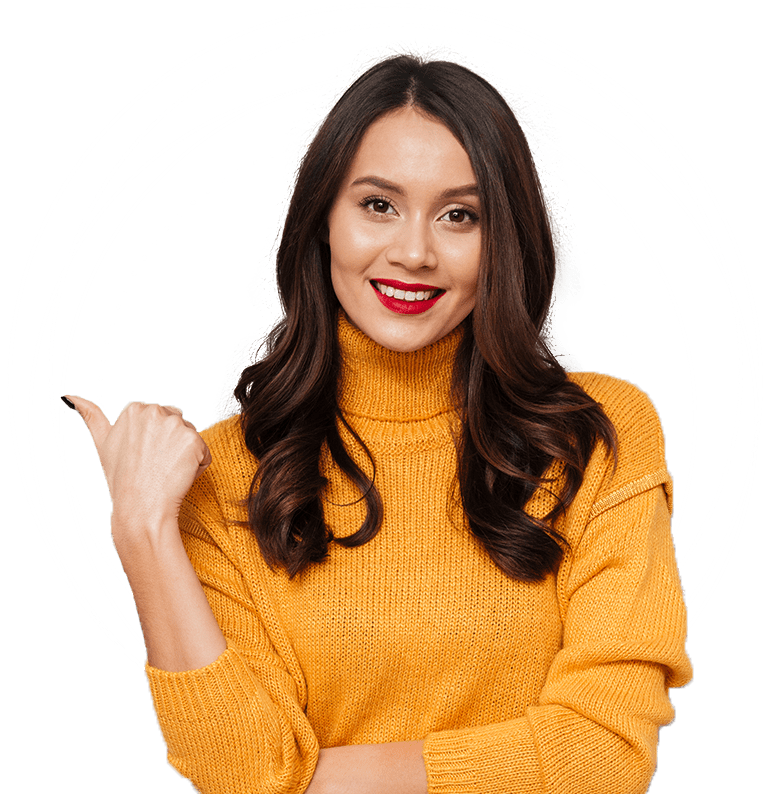 smiling woman pointing